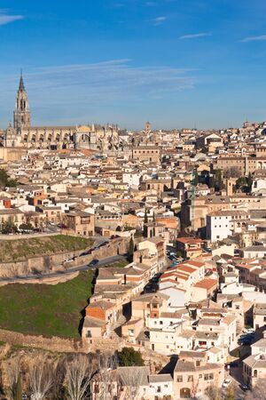 Old Toledo town view, Spain. Vertical shot photo