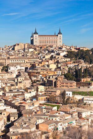 toledo town: Castle El Alcazar over old Toledo town, Spain