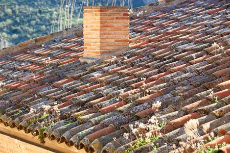 Old weathered tile roof. Horizontal shot, small GRIP photo