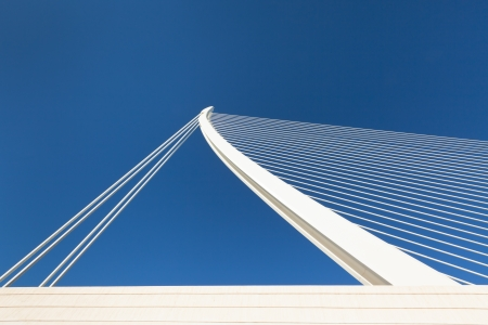 Modern bridge fragment: white against bright blue Stock Photo - 14690355