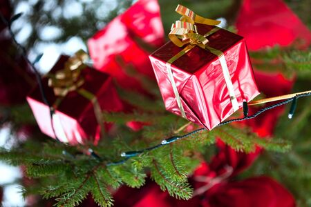 Christmas Tree branch decorated red gifts and light garland Stock Photo - 14971461
