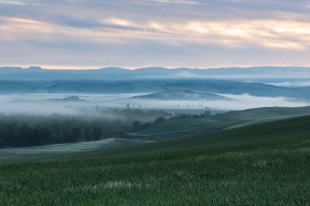 Morning fog landscape at Valley d\'Orcia in Tuscany,\ Italy