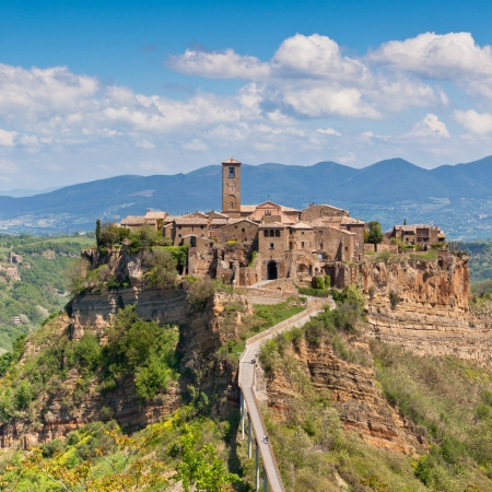 Italian Hilltown Civita di Bagnoregio. Bright summer shot photo