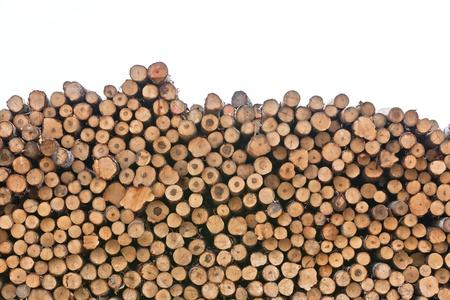 woodpile: Big pile of logs isolated on white background
