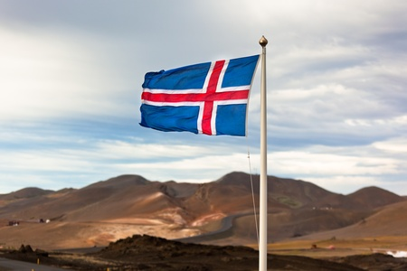 the icelandic flag: The flag of Iceland waving in the wind
