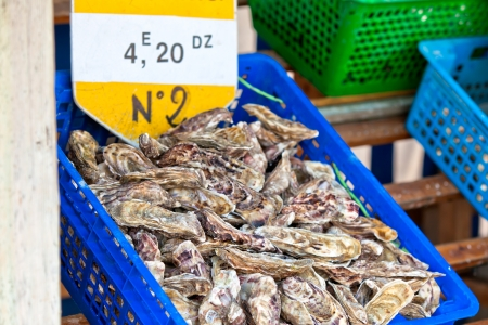 Oysters market in Cancale, France. Horizontal shot Stock Photo - 15503860