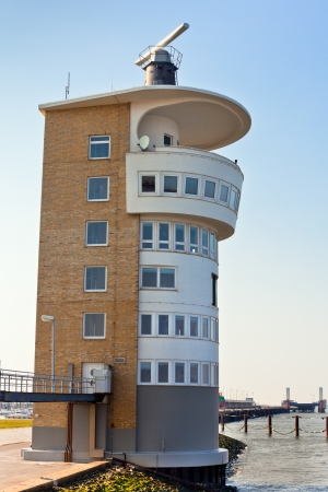 Modern lighthouse at German North Sea coast. Vertical shot Stock Photo - 15828541