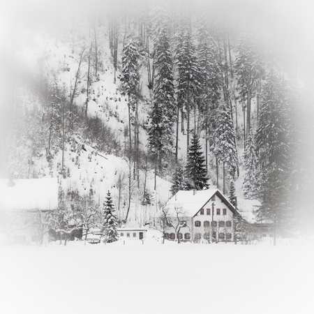 Fairy tale.Snowy Alpine house in the mountain woods.Toned and vignetted image as postcard Stock Photo - 16232935