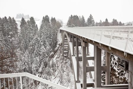 Snowy landscape with modern steel bridge and forest Stock Photo - 15976841