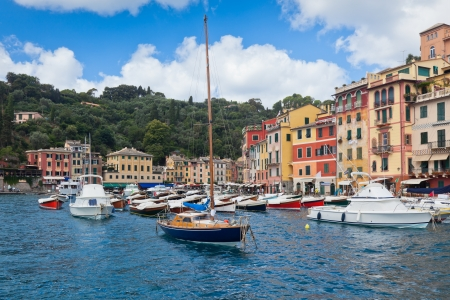 Portofino Bay View from the sea. Boats and houses.