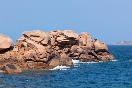 cote de granit rose: Cote de Granit Rose - Pink Granite Coast, Brittany, France Stock Photo