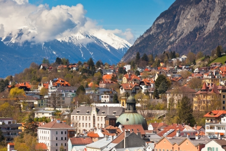 View of Innsbruck city, Tirol Alps, Austria. Horizontal shot