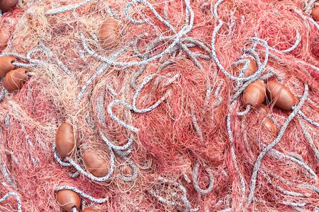 Red Fishing net at the harbor  Pattern, background Stock Photo - 16429206
