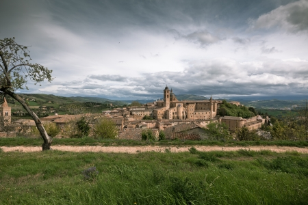 Old Urbino, Italy, cityscape at dull day. Horizontal toned and vignetted image