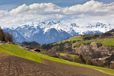 Spring in Tirol Alps. Landscape with meadows and mountains Stock Photo - 16508491