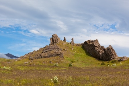 East Iceland Nature Landscape with Basalt rocks and Blue Sky Stock Photo - 16632388