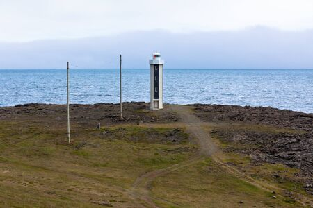 Lighthouse in East Iceland&Acirc,&nbsp,at overcast weather  Horizontal shot Stock Photo - 16633502