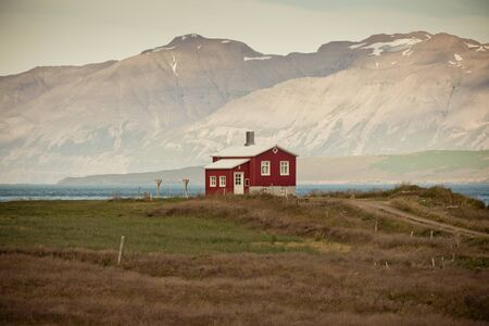 Lonely House at coastline in North Iceland  Horizontal toned shot Stock Photo - 16679608