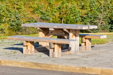 Empty Wooden table and benches in resting area at roadside Stock Photo - 16676509