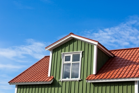 Residential Roof Top under the Bright Blue Sky Stock Photo - 16679611