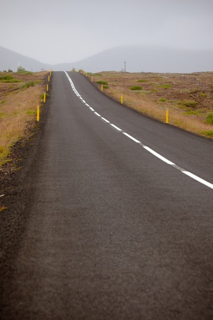 Highway through Iceland landscape at foggy day Stock Photo - 16815014