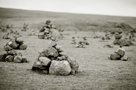 Landscape with Pyramids from stones, Iceland. Horizontal toned shot Stock Photo - 16815024