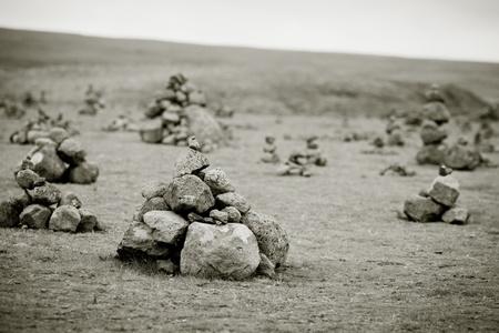 Landscape with Pyramids from stones, Iceland. Horizontal toned shot Stock Photo - 16815024