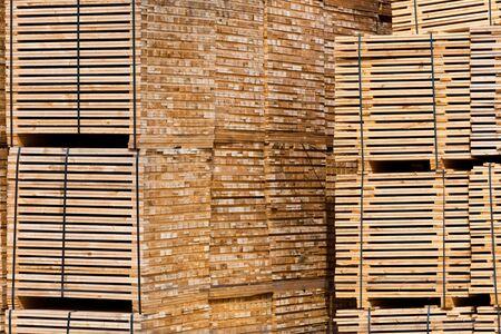 New Stacked Pallets at Wood Factory. Horizontal shot Stock Photo - 16815032