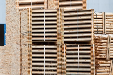 New Stacked Pallets at Wood Factory. Horizontal shot Stock Photo - 16815026