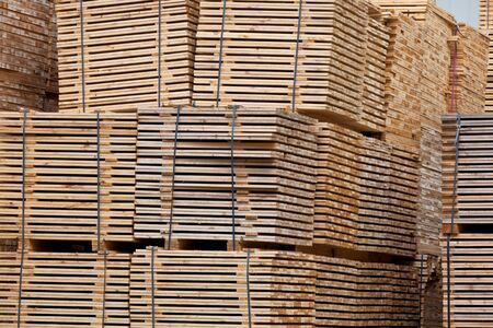 New Stacked Pallets at Wood Factory. Horizontal shot Stock Photo - 16815029