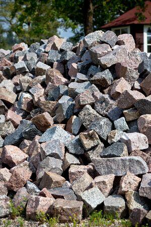 Large Heap of Granite Stones near Rural House Stock Photo - 16815033