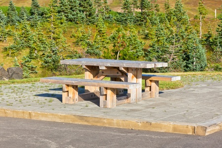 Empty Wooden table and benches in resting area at roadside Stock Photo - 16815034