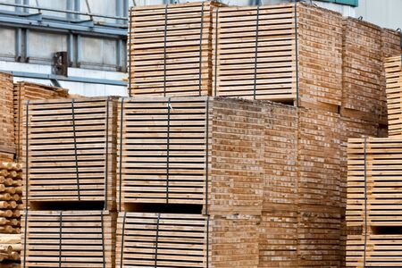 New Stacked Pallets at Old Wood Factory. Horizontal shot Stock Photo - 17032852