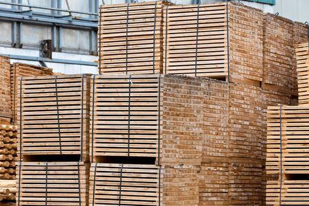 New Stacked Pallets at Old Wood Factory. Horizontal shot Stock Photo - 17032852
