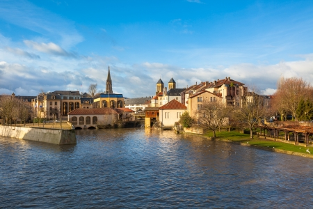 View of Metz city, Lorraine area of France. Horizontal shot. The Moselle river flows through the ancient town of Metz.