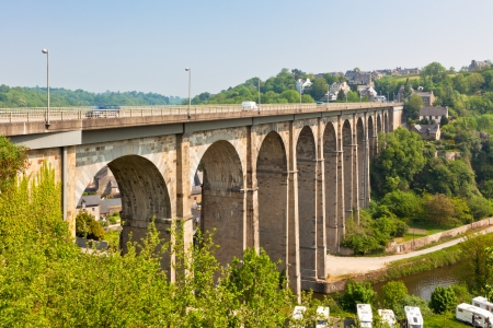 dinan: Large stone bridge in Dinan town, Brittany, France