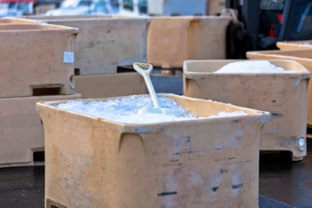Large Plastic Fishing Containers with Ice in Iceland Harbor Stock Photo - 17426998