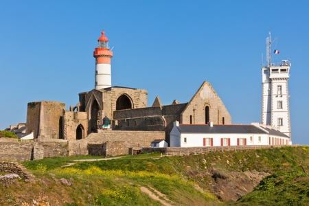 Abbey ruin and lighthouse, Pointe de Saint-Mathieu, Brittany, France