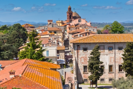 Roofs of the buildings and street in the Castiglione del Lago town, Italy
