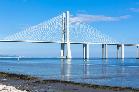 Modern bridge fragment: Vasco da Gama Bridge (Ponte Vasco da Gama), Lisbon photo