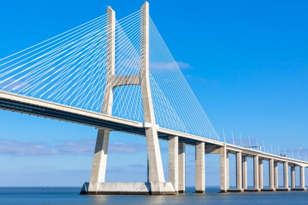 Modern bridge fragment: Vasco da Gama Bridge (Ponte Vasco da Gama), Lisbon