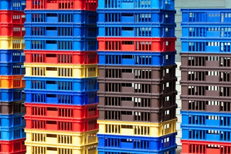 Bright Color Plastic Containers Piles -II. Horizontal shot Stock Photo - 17546919