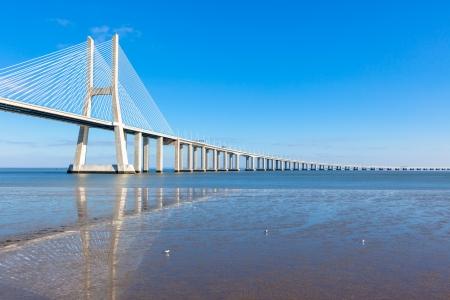 Modern bridge fragment: Vasco da Gama Bridge (Ponte Vasco da Gama), Lisbon