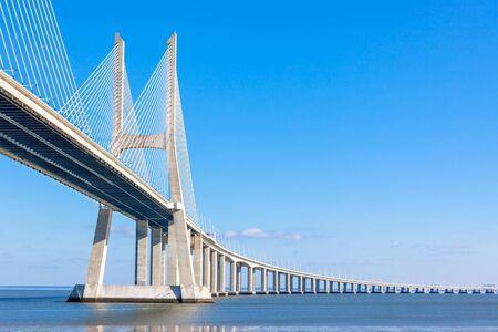 Modern bridge fragment: Vasco da Gama Bridge (Ponte Vasco da Gama), Lisbon, Portugal