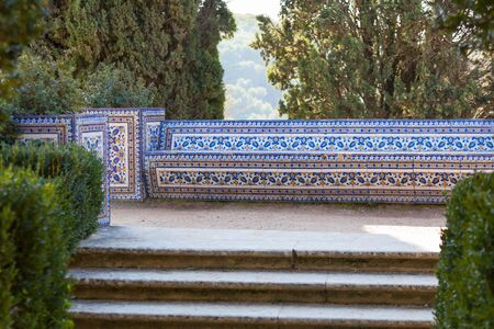 Azulejo Bench. Park detail in Convent of Christ, Tomar, Portugal Stock Photo