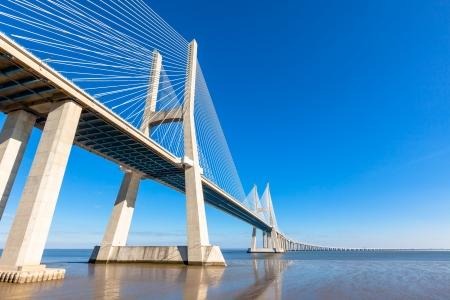 cable bridge: Modern bridge fragment  Vasco da Gama Bridge  Ponte Vasco da Gama , Lisbon Stock Photo