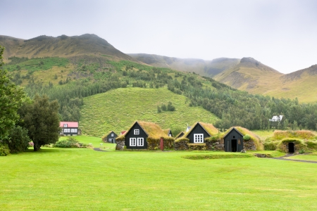 Overgrown Typical Rural Icelandic houses at overcast foggy day Stock Photo