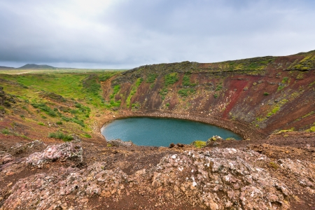 Crater of an extinct volcano Kerith filled with water  Located in Iceland photo