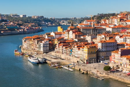 Overview of Old Town of Porto, Portugal  Ribeira and Douro river photo