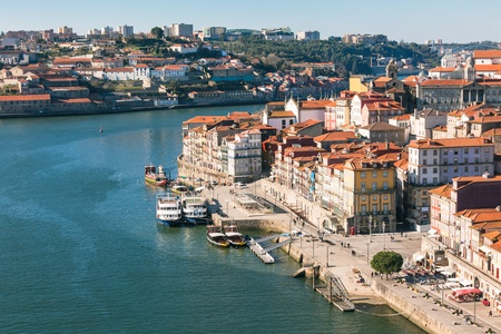 Overview of Old Town of Porto, Portugal  Ribeira and Douro river Stock Photo - 18359021